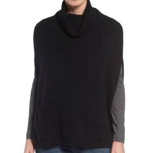 Halogen Black Cashmere Turtleneck Cape Sweater